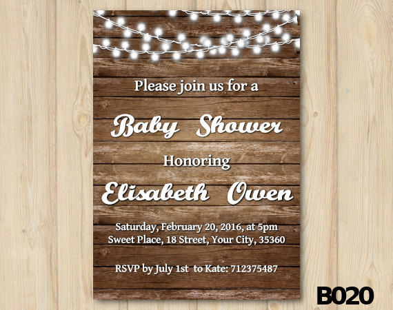 String Lights Baby Shower Invitation | Personalized Digital Card