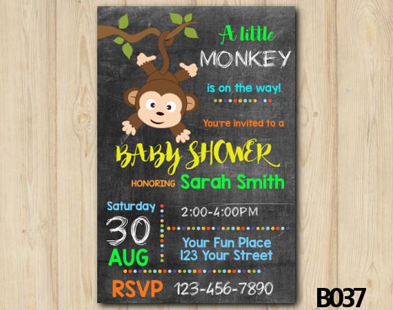 Monkey Baby Shower Invitation Template