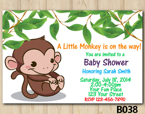 Little Monkey Baby Shower Invitation Template