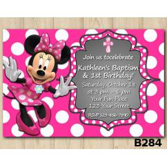 Baptism Minnie Mouse invitation