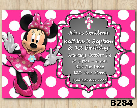 Baptism Minnie Mouse invitation | Personalized Digital Card