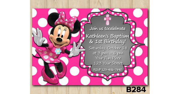 Baptism Minnie Mouse Invitation Minnie Mouse Invitation