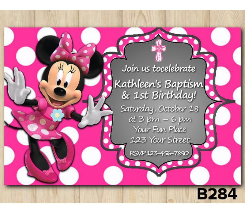 Baptism Minnie Mouse Invitation