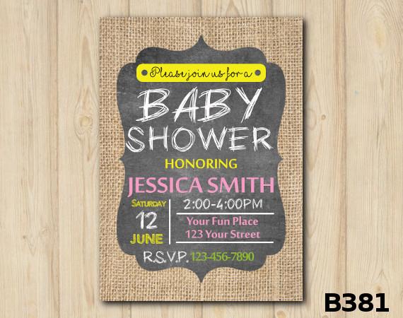 Baby Shower Burlap invitation | Personalized Digital Card