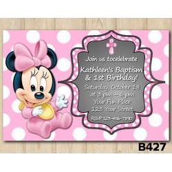 Baptism Minnie Mouse Baby invitation
