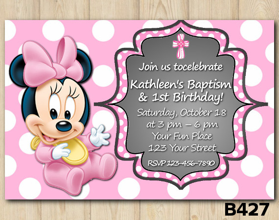 Baptism Minnie Mouse Baby invitation | Personalized Digital Card