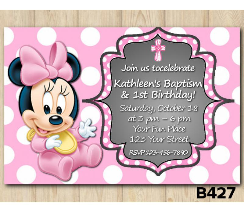 Baptism Minnie Mouse Baby Invitation Personalized Digital Card
