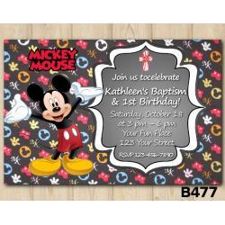Baptism Mickey Mouse invitation