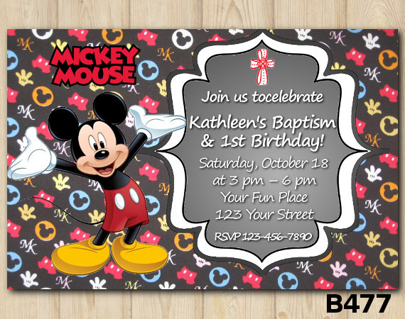 Baptism Mickey Mouse invitation | Personalized Digital Card