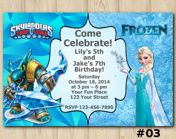 Twin Frozen and Skylanders Invitation | Snapshot | Personalized Digital Card