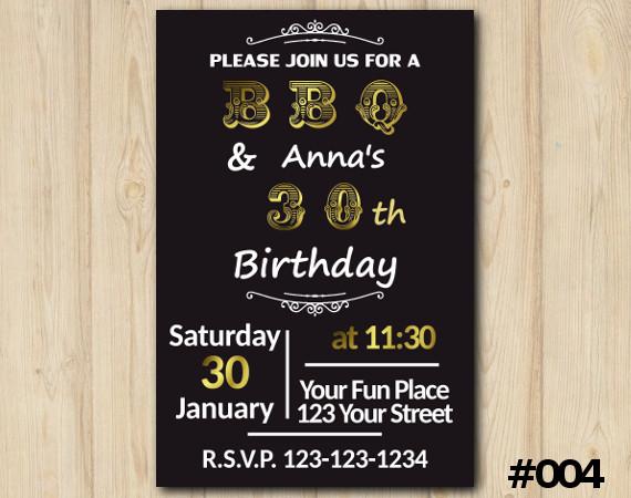Adult BBQ Invitation   Personalized Digital Card