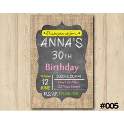 Adult Burlap Invitation