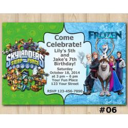 Twin Frozen and Skylanders Invitation