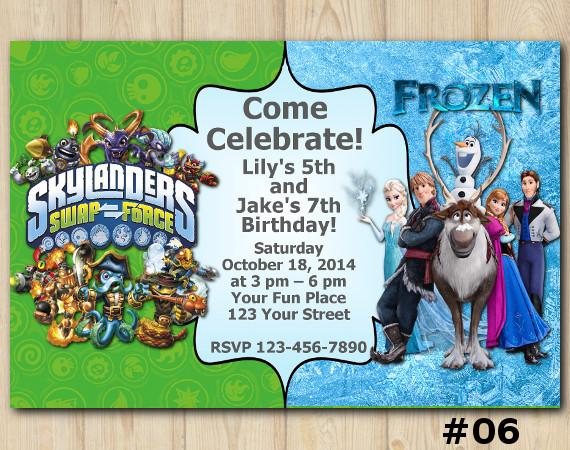 Twin Frozen and Skylanders Invitation | Personalized Digital Card