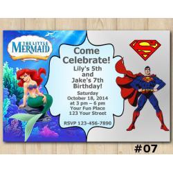 Twin Ariel and Superman Invitation