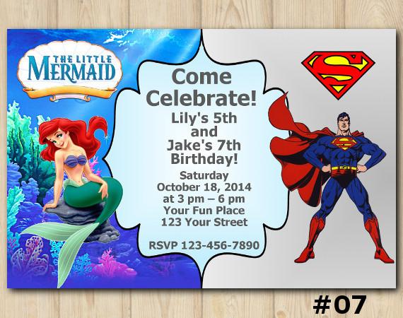 Twin Ariel and Superman Invitation   Personalized Digital Card