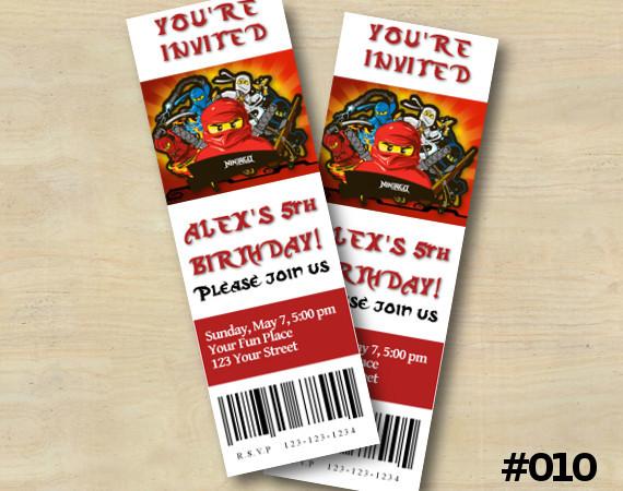 Ninjago Ticket Invitation | Personalized Digital Card