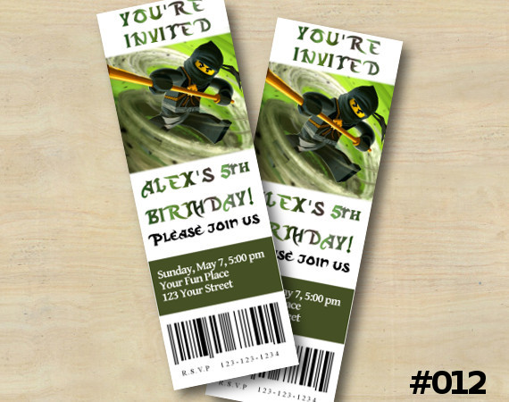 Ninjago Ticket Invitation