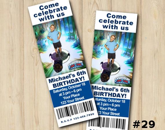 Skylanders Trap Team Ticket Invitation with Photo   Personalized Digital Card