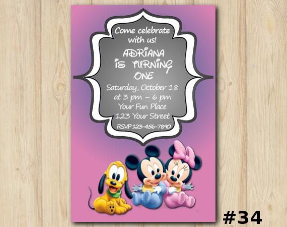 Minnie Mickey Mouse Invitation | Personalized Digital Card