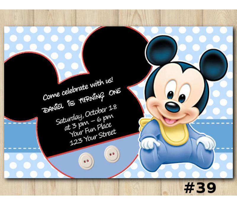 Mickey Mouse Birthday Invitation, Mickey Mouse Invitation Template