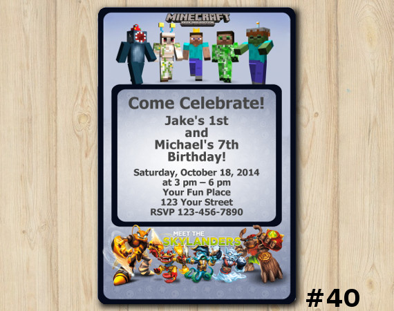 Twin Skylanders and Minecraft Invitation | Personalized Digital Card