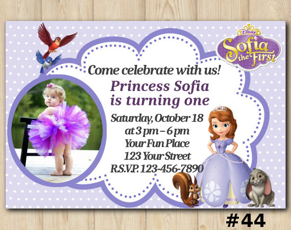 Sofia the First Invitation with Photo | Personalized Digital Card