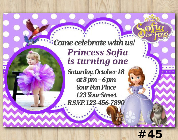 Sofia the First Invitation with Photo   Personalized Digital Card