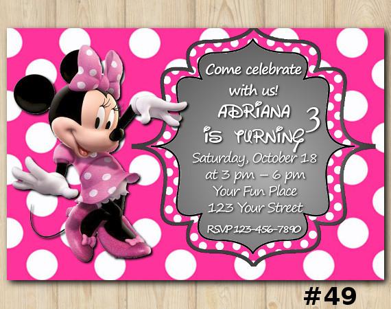 Minnie Mouse Invitation   Personalized Digital Card