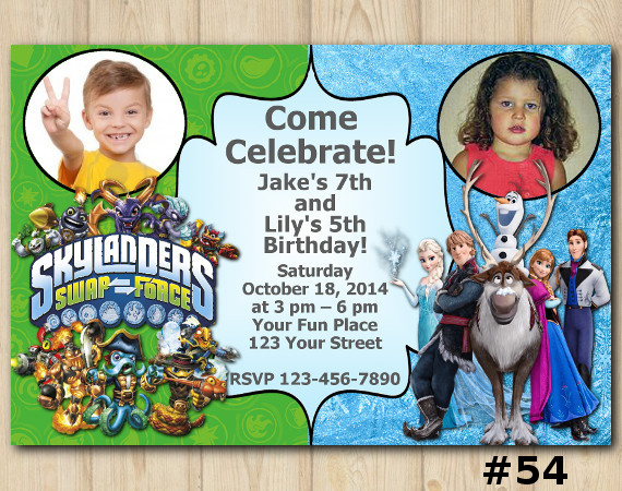 Twin Frozen and Skylanders Invitation with Photo   Personalized Digital Card