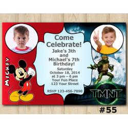 Twin Mickey Mouse and TMNT Invitation with Photo