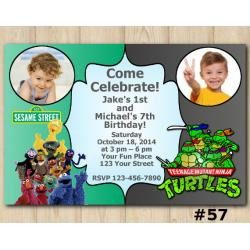 Twin Sesame Street and TMNT Invitation with Photo