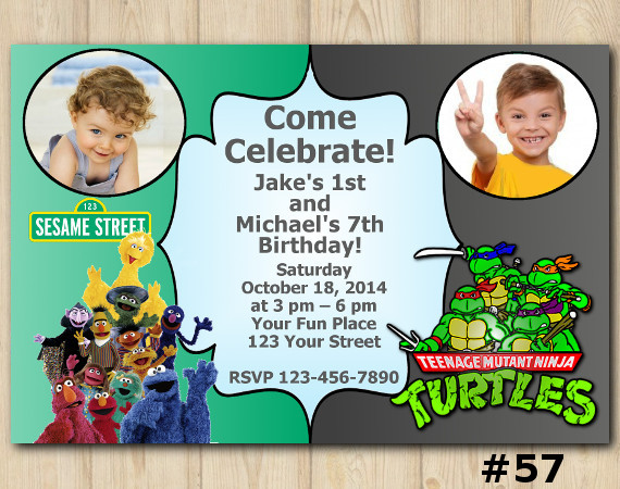 Twin Sesame Street and TMNT Invitation with Photo | Personalized Digital Card