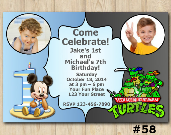Twin Mickey Mouse and TMNT Invitation with Photo | Personalized Digital Card
