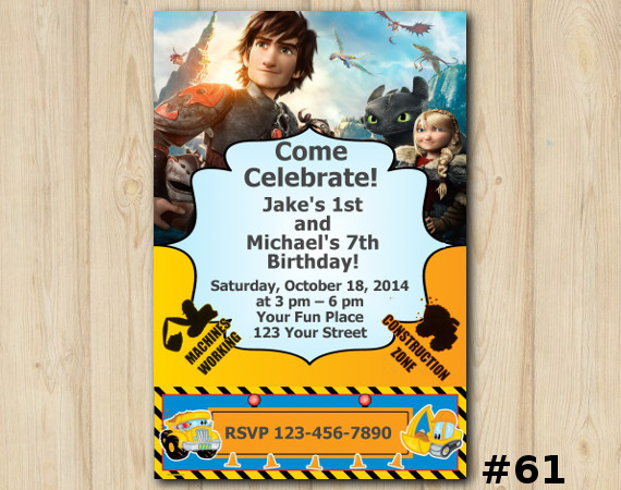 Twin How To Train Your Dragon and Construction Pals Invitation | Personalized Digital Card