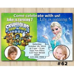 Twin Frozen and Skylanders Invitation with Photo
