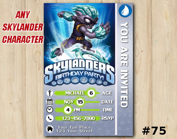 Skylanders Swap Force Game Card Invitation   FreezeBlade   Personalized Digital Card