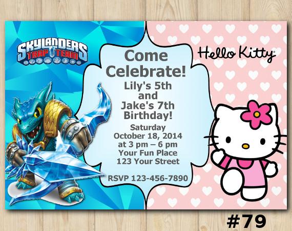 Twin Hello Kitty and Skylanders Invitation | Snapshot | Personalized Digital Card