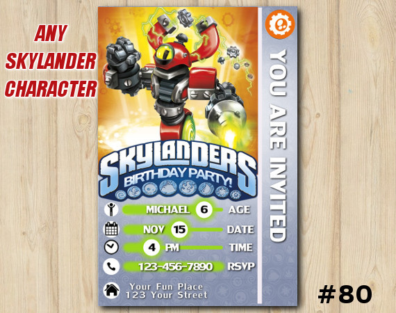 Skylanders Swap Force Game Card Invitation   MagnaCgarge   Personalized Digital Card