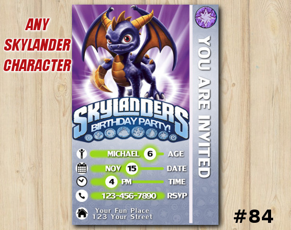 Spyro Skylanders Card Birthday Invitation Skylanders Invitation Template