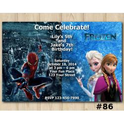 Twin Frozen and Spiderman Invitation