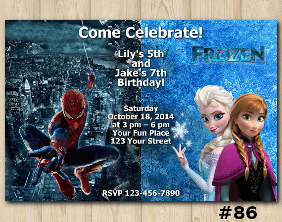 Twin Frozen and Spiderman Invitation | Personalized Digital Card