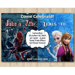 Twin Frozen and Spiderman Invitation