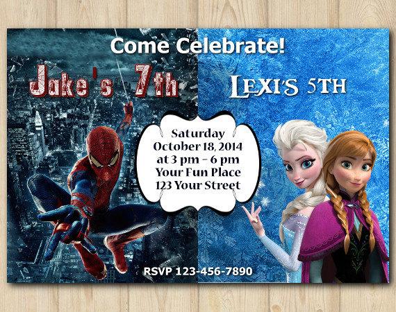 Twin Frozen and Spiderman Invitation   Personalized Digital Card