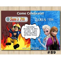 Twin Frozen and Fireman Sam Invitation