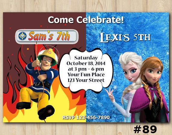 Twin Frozen and Fireman Sam Invitation | Personalized Digital Card