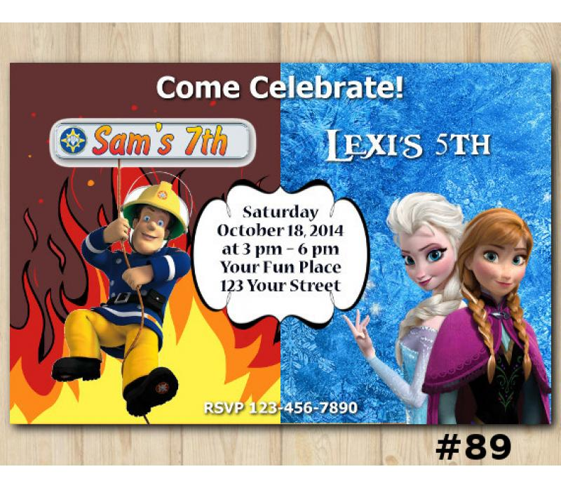 Twin Fireman Sam And Frozen Birthday Invitation Joint Twin