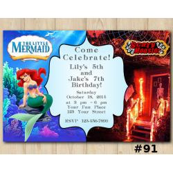 Twin Ariel and Scary Monsters Invitation