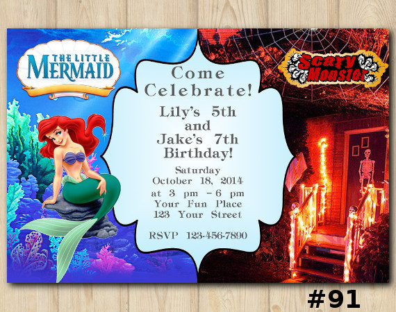 Twin Ariel and Scary Monsters Invitation | Personalized Digital Card