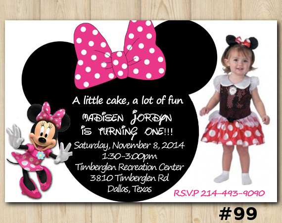 Minnie Mouse Invitation with Photo | Personalized Digital Card